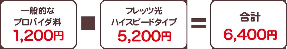 一般的なプロバイダ料1,200円+フレッツ光ハイスピードタイプ5,200円=合計6,400円