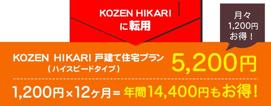 KOZEN HIKARIに転用 KOZEN HIKARI 戸建て住宅プラン(ハイスピードタイプ) 5,200円 月々1,200円お得! 1,200円×12ヶ月=年間14,400円もお得!